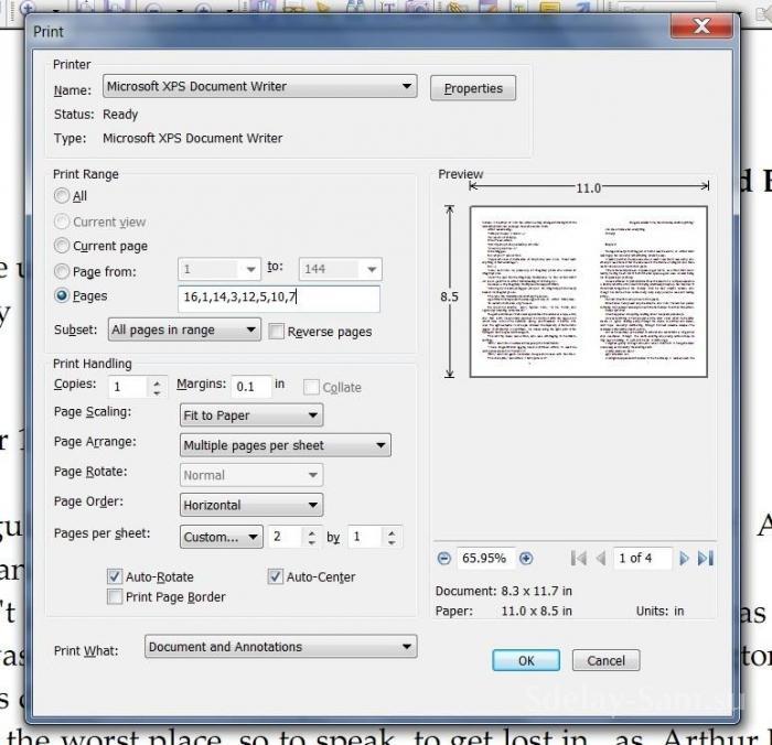 Как сделать книжный формат а потом альбомный