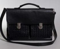 кожаный портфель с плетеными карманами