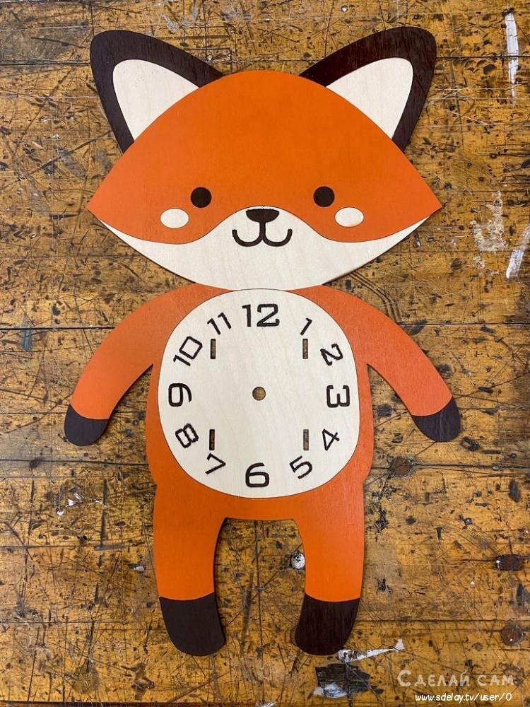 Часы-лисенок из фанеры своими руками