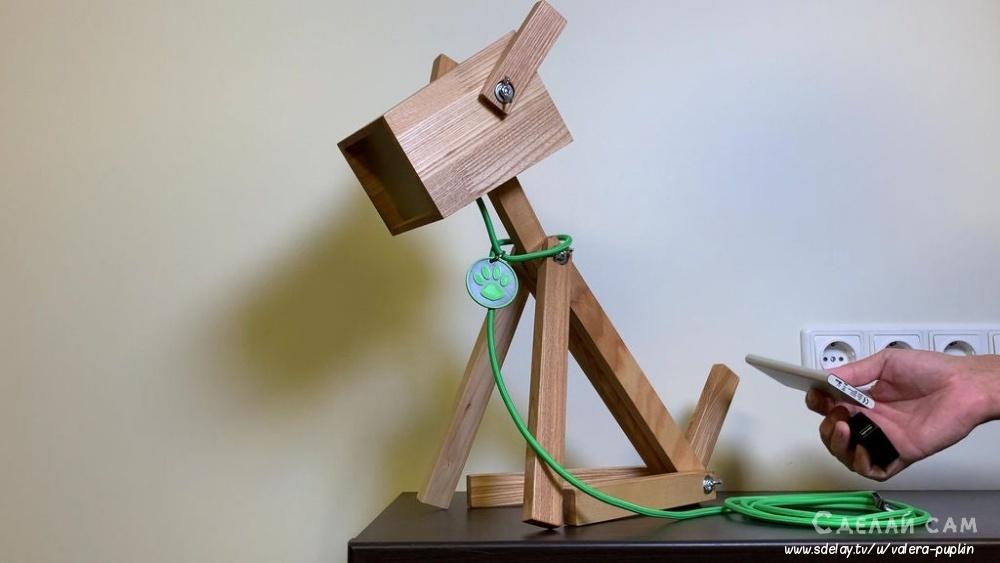 Деревянная лампа-собачка своими руками