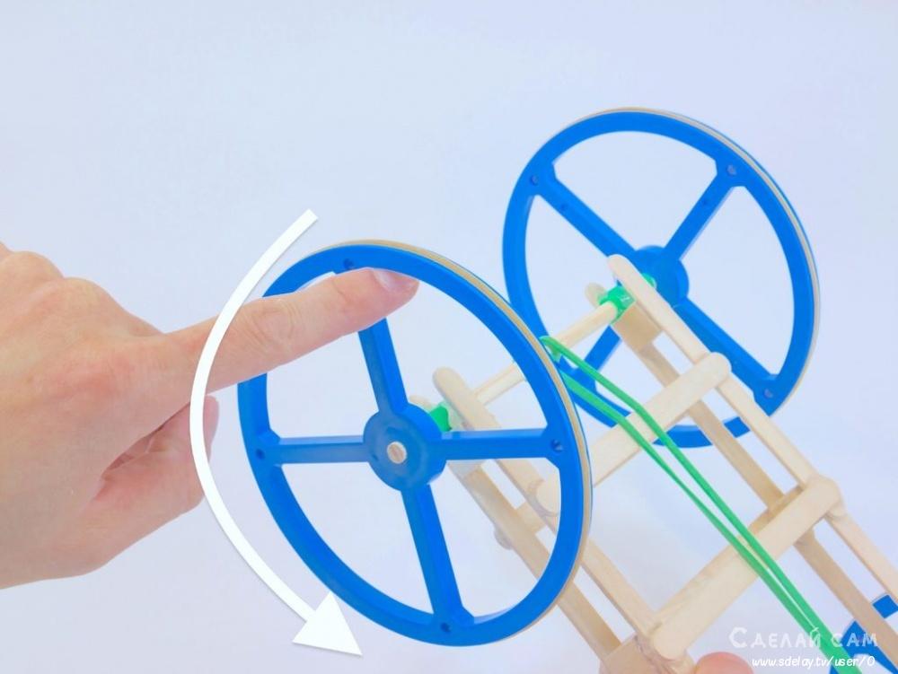 Простая машинка на резиномоторе своими руками