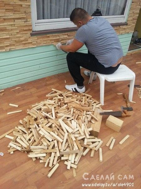 Отделка стены деревянной мозаикой