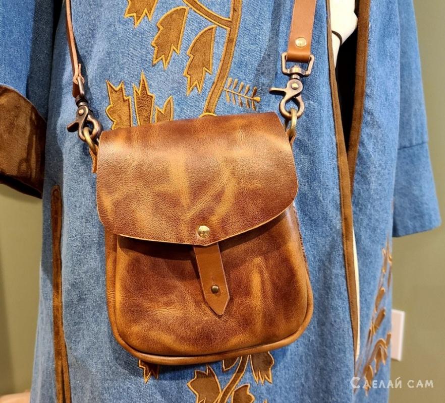 Женская кожаная сумка из натуральной кожи своими руками