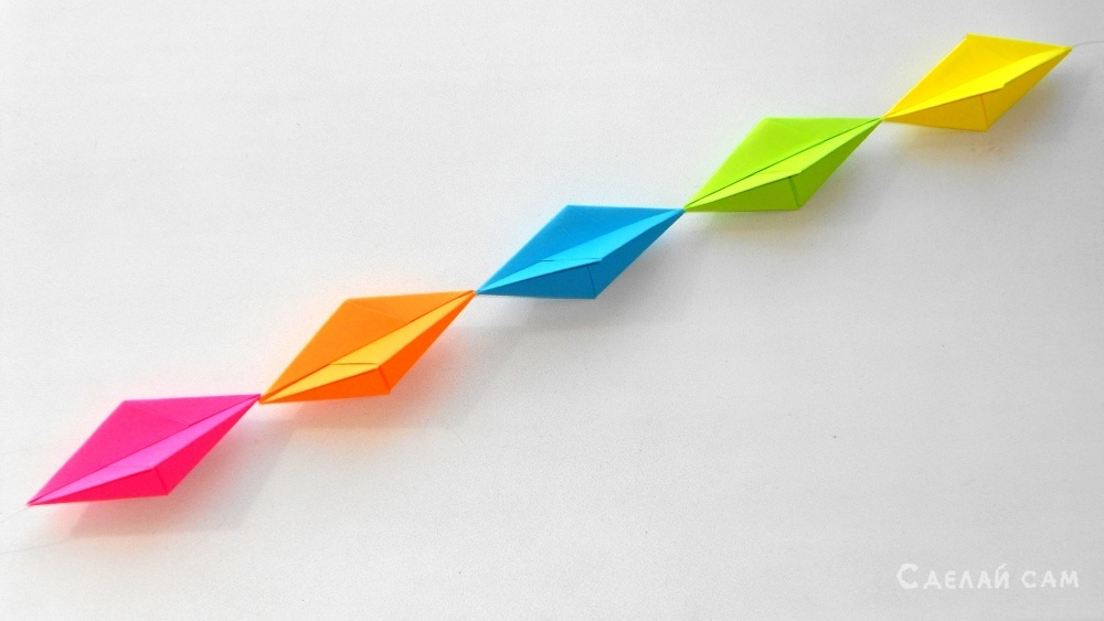 Гирлянда из цветной бумаги Поделки оригами