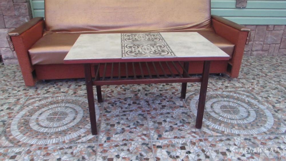 Реставрируем старый журнальный столик с помощью половой плитки