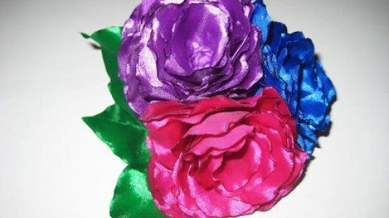 DIY Украшение для волос. Букетик из ярких цветов. Мастер-класс \ Hair ornament