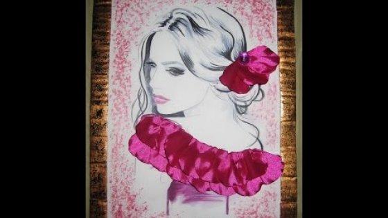 DIY Декор рисунка лентами. Картина своими руками \ Inlay pattern ribbons. Painting \ Tutorial