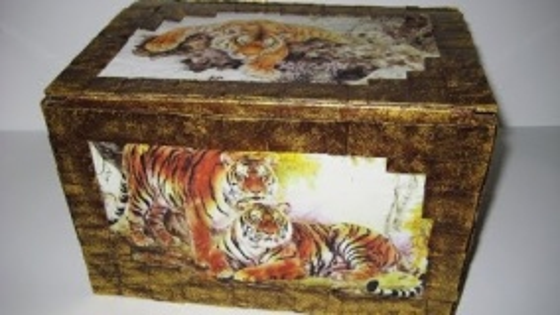 "DIY Шкатулка для рукоделия ""Тигры"". Мастер-класс \ Casket for needlework ""Tigers"