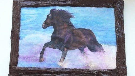 Картина своими руками. Лошадь в воде. Мастер-класс \ Painting with your hands \ handmade
