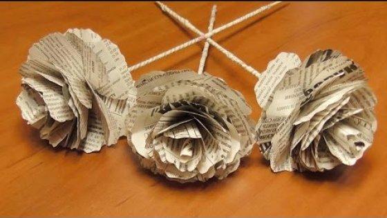 DIY Розы из газеты своими руками. Цветы из бумаги. Мастер класс \ Roses from newspapers