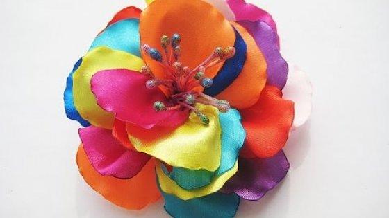 DIY Радужный цветок. Заколка своими руками