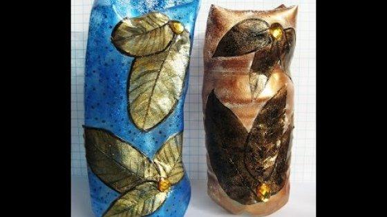 DIY Ваза из пластиковой бутылки необычной формы. Мастер класс \ Vase from a plastic bottle