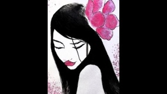 Девушка с цветком. Урок рисования \ Girl with flower \ drawing \ how to draw