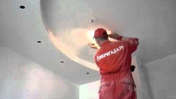 Шлифовка потолка перед покраской мастерами компании Рембригада.ру