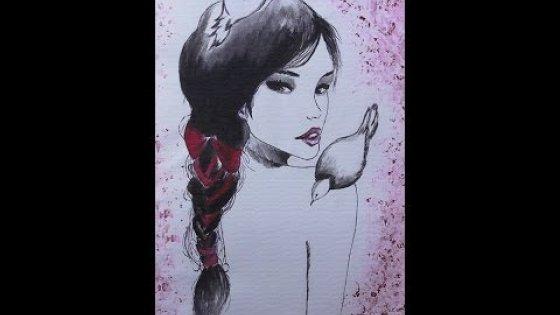 Девушка и голуби. Рисование \ drawing \ how to draw