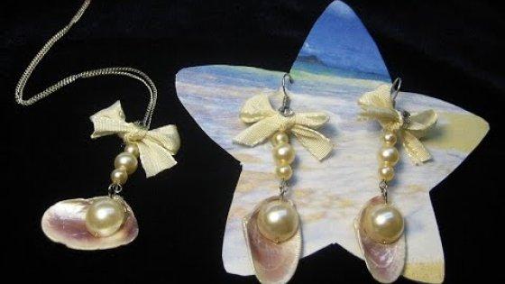 DIY Комплект украшений ракушки с жемчугом. Мастер-класс \ Jewelry set with pearl shells \ Tutorial