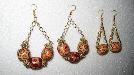 DIY Серьги из крупных бусин и цепочки своими руками. Мастер класс. Earrings of  beads and chains