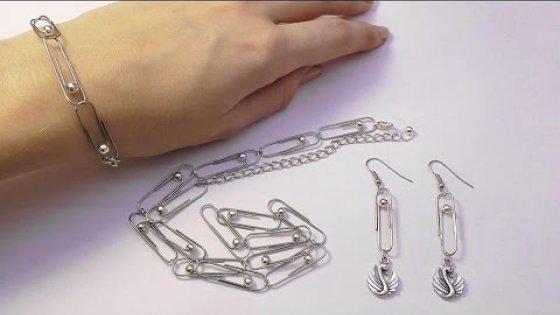 DIY Браслет и цепочка из скрепок. Украшение из скрепок. Мастер класс. Jewelry from Staples