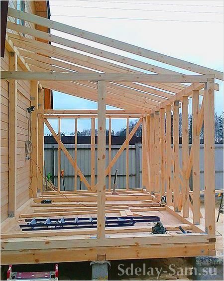 каркас террасы пристроенной к дому на столбчатом фундаменте